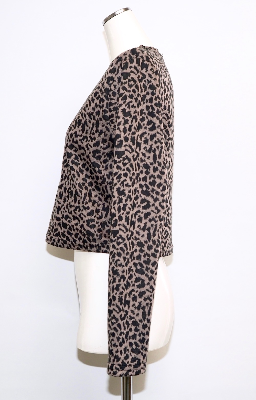 Leopard Zip Design Sweat Top (brown)