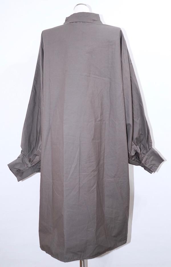 2way Balloon Sleeve Long Shirts Onepiece (charcoal)