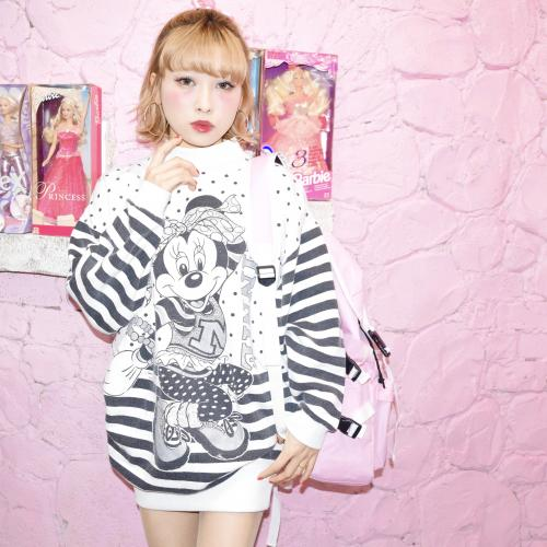 """80s """"Minnie Mouse"""" Border Sleeve Sweat One Piece"""