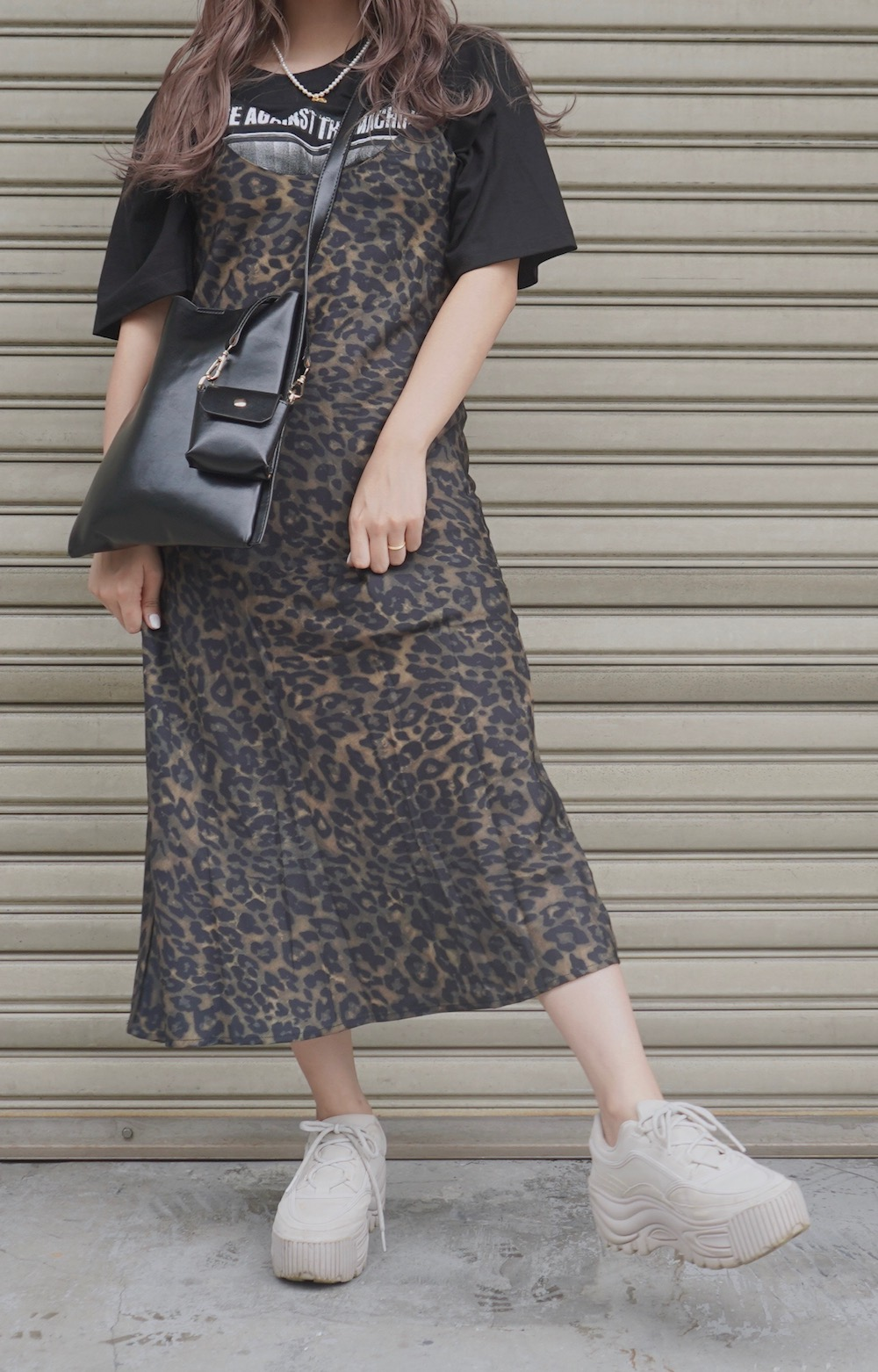 Leopard Flare Long Cami-Onepiece