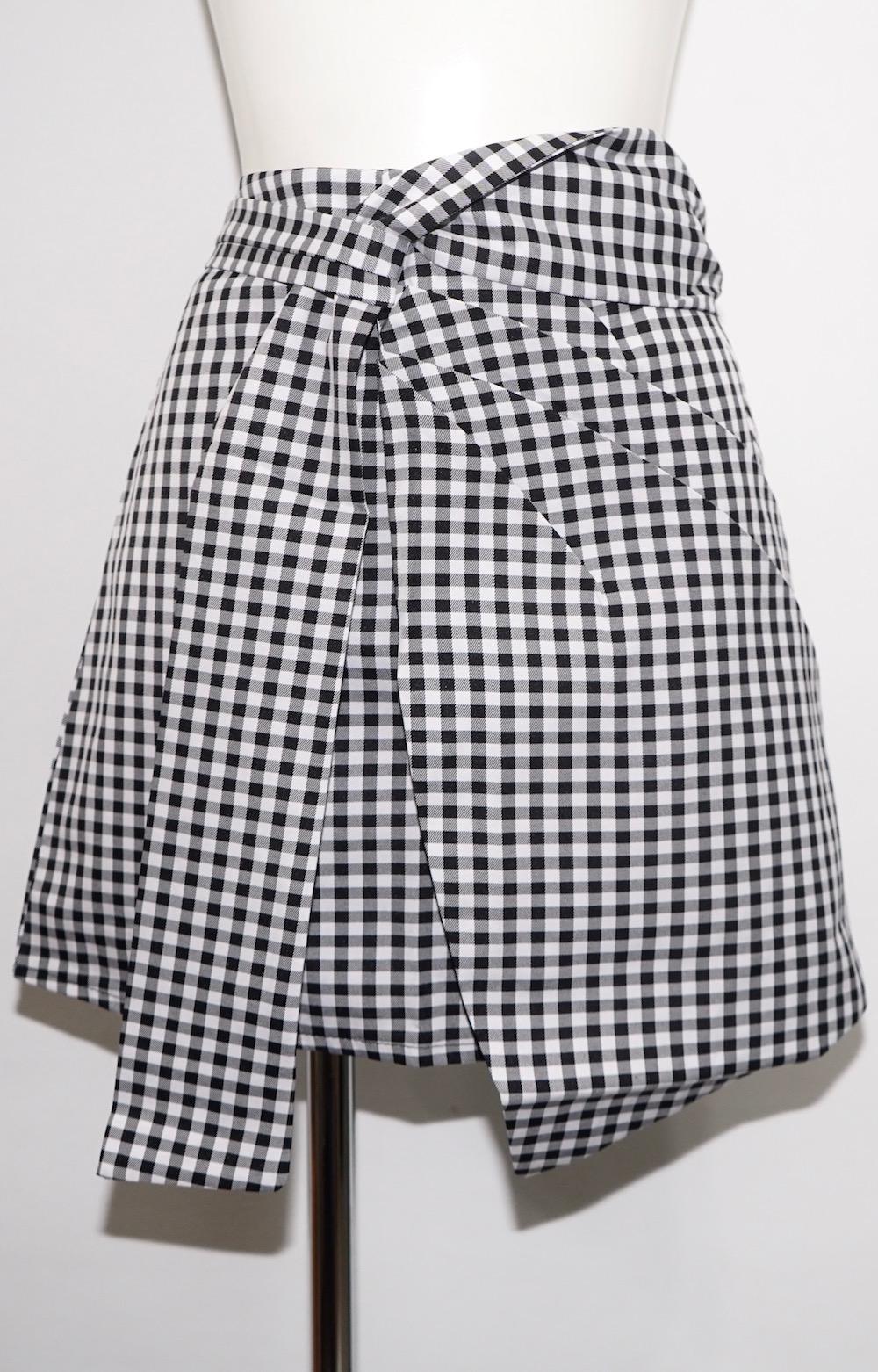 Gingham Check Irregular Mini Skirt