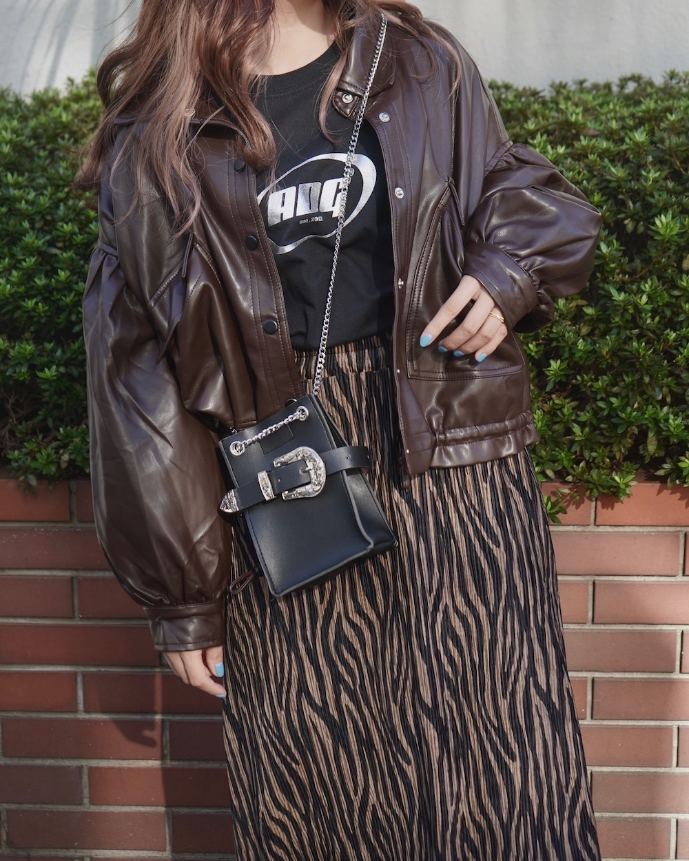 Balloon Sleeve Leather Touch Jacket Coat (dark brown)