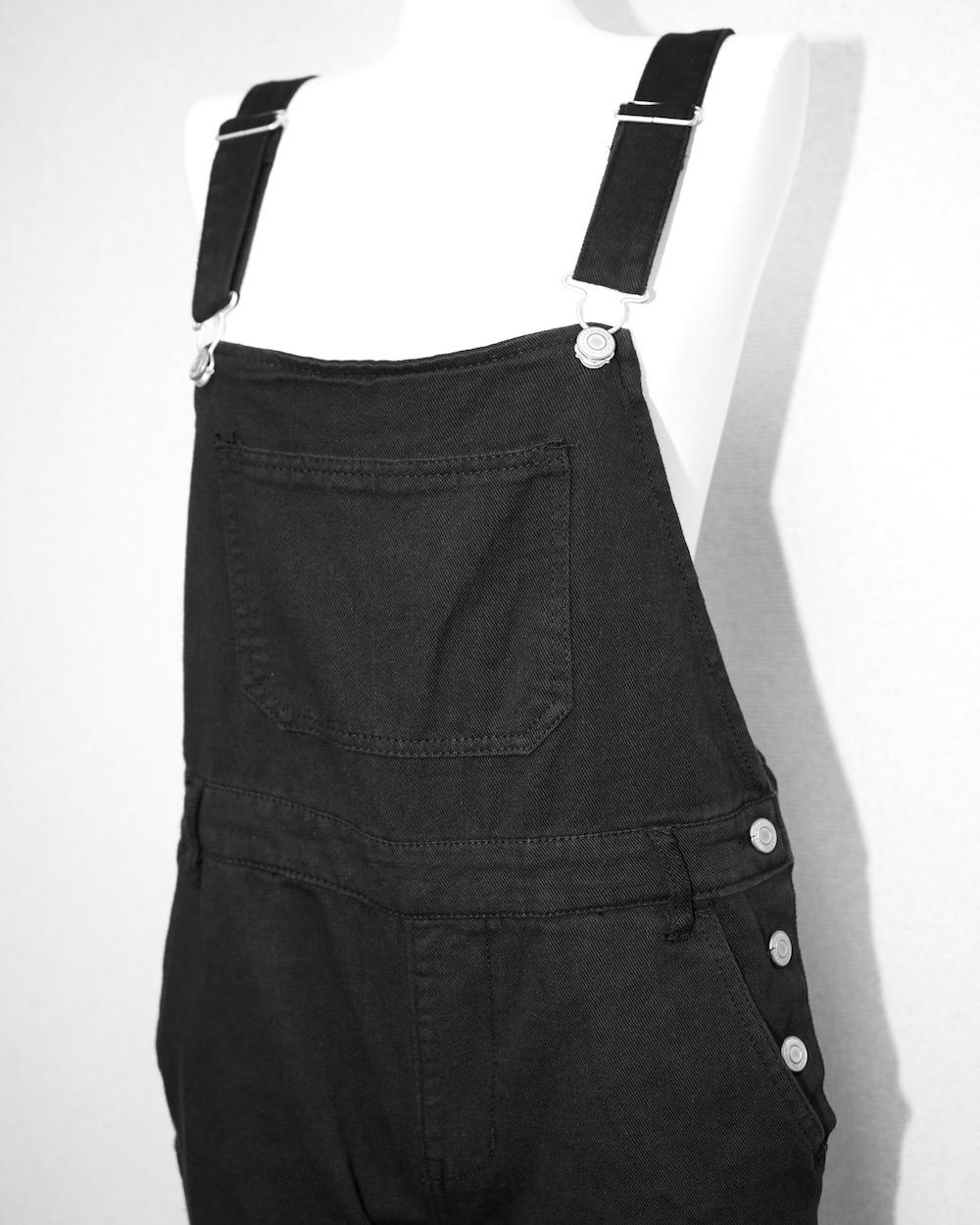 Black Denim Salopette Pants
