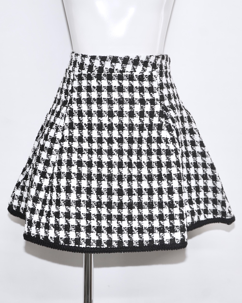 Monotone Houndstooth A-Line Skirt