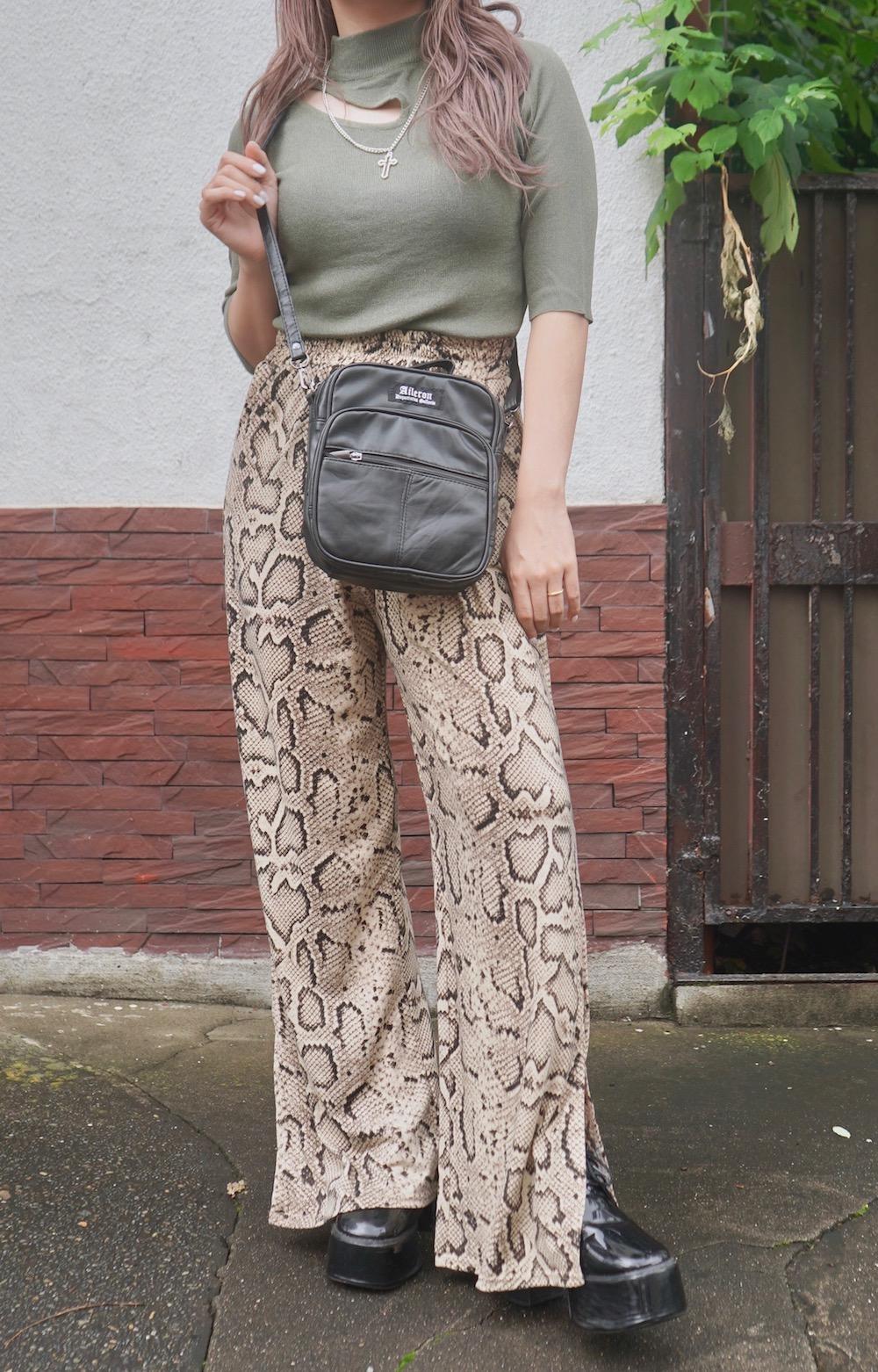 Python Slit Wide Pants (beige)