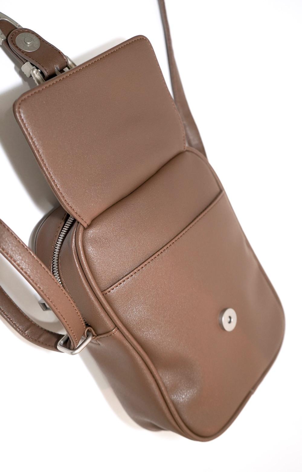 Emboss Buckle Shoulder Bag (light brown)
