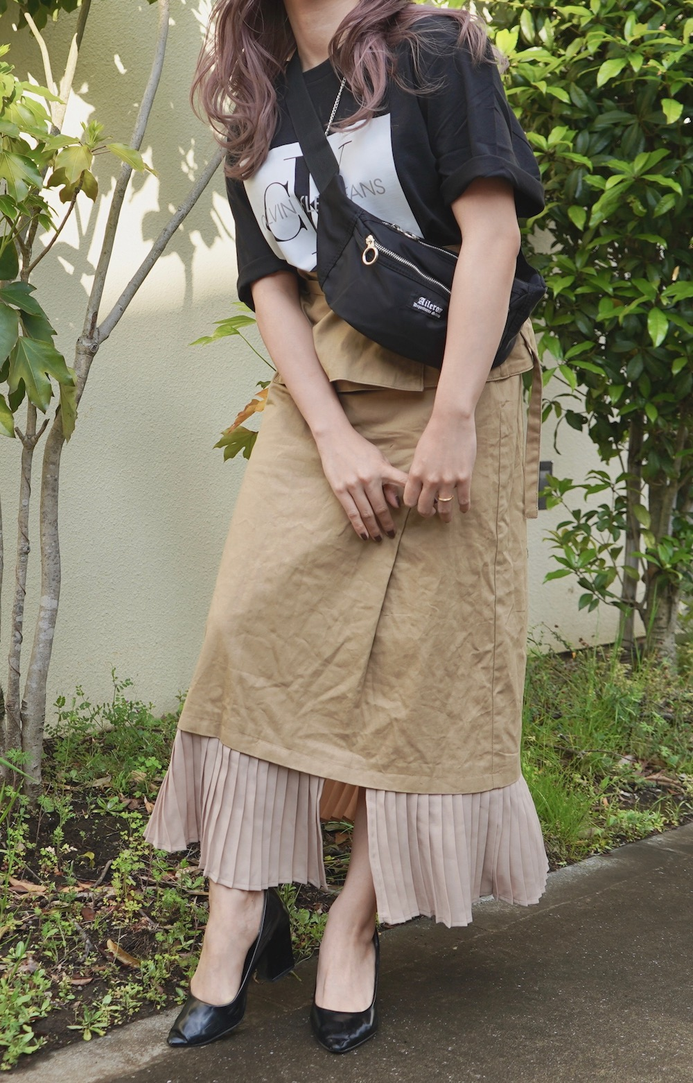 Pleats Switching Chino Long Skirt *with Belt (beige)