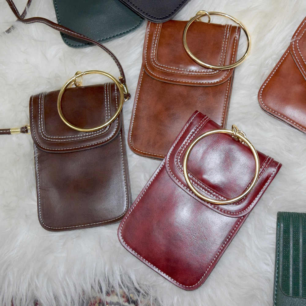 (全3色) GOLD RING VERTICAL LEATHER SHOULDER BAG