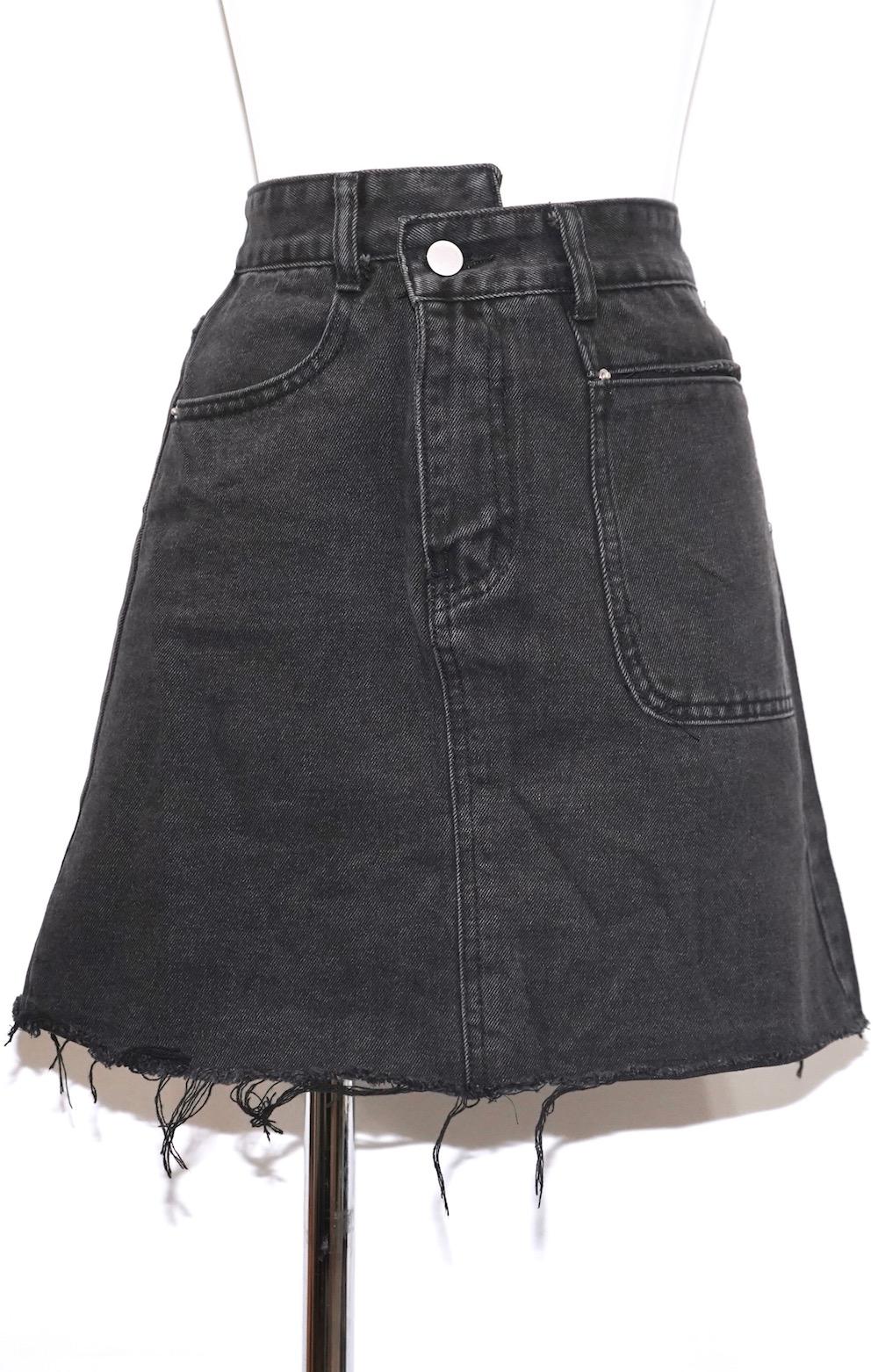 Cut-off Black Denim Mini- Skirt