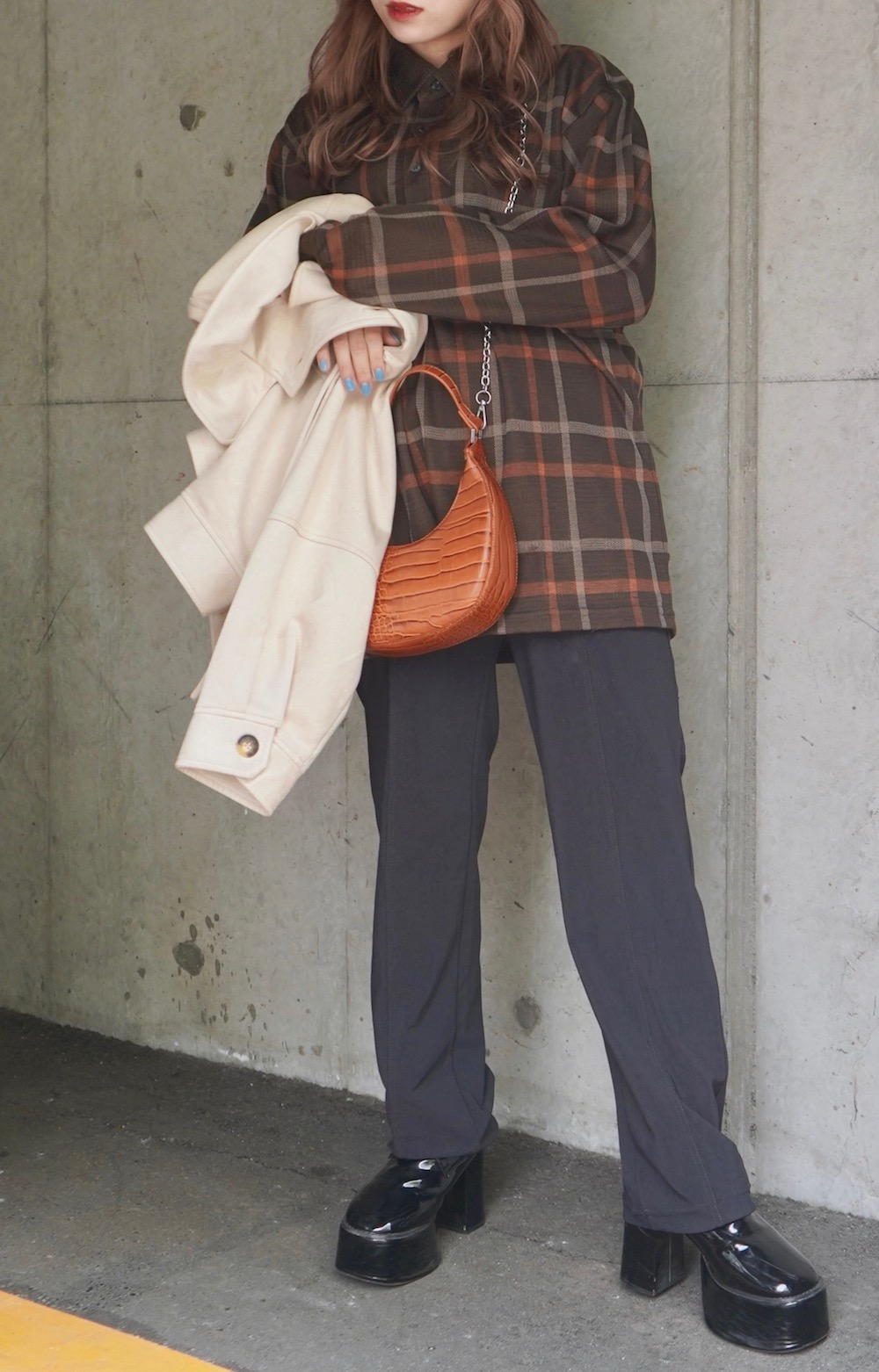 Oversized Check L/S Polo Shirts (brown)