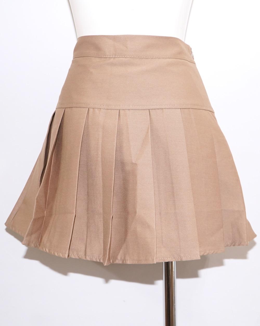 Basic Pleats Mini Skirt (beige)