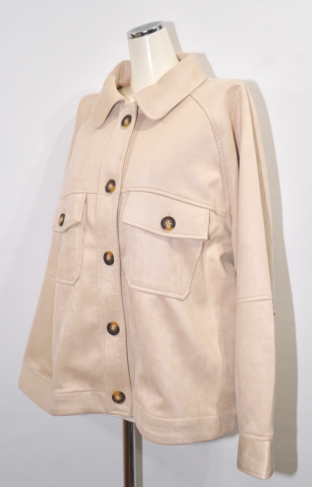Oversized Suede Touch CPO Jacket (light beige)