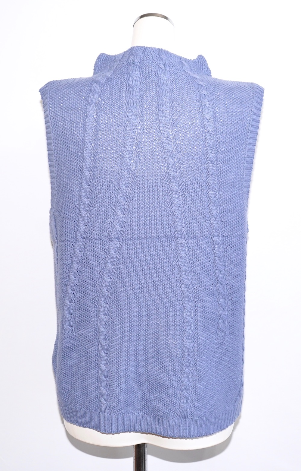 Cable Cotton Knit Vest (sax)