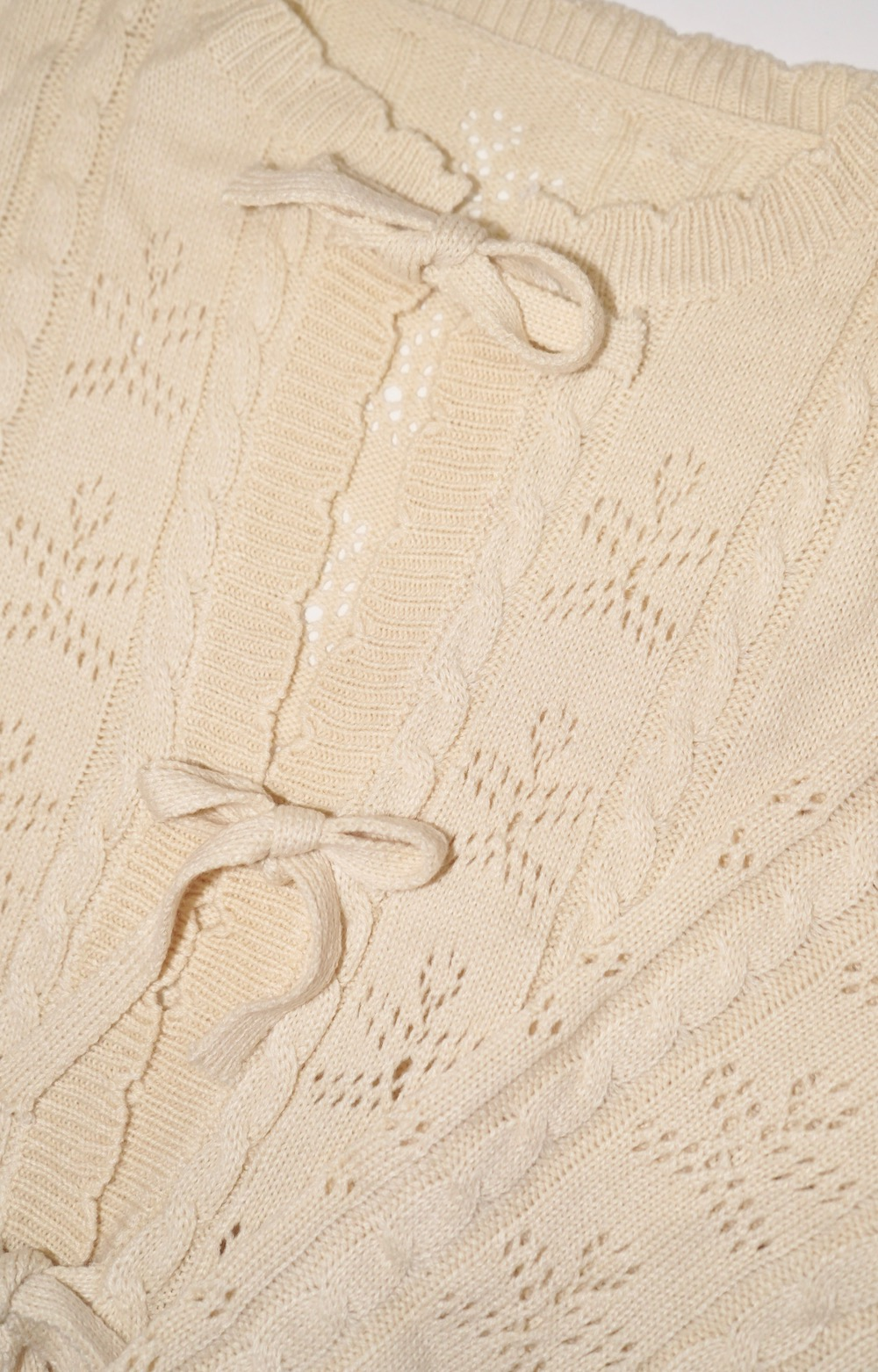 Cable&Crochet Knit Ribbon Cardigan (cream)