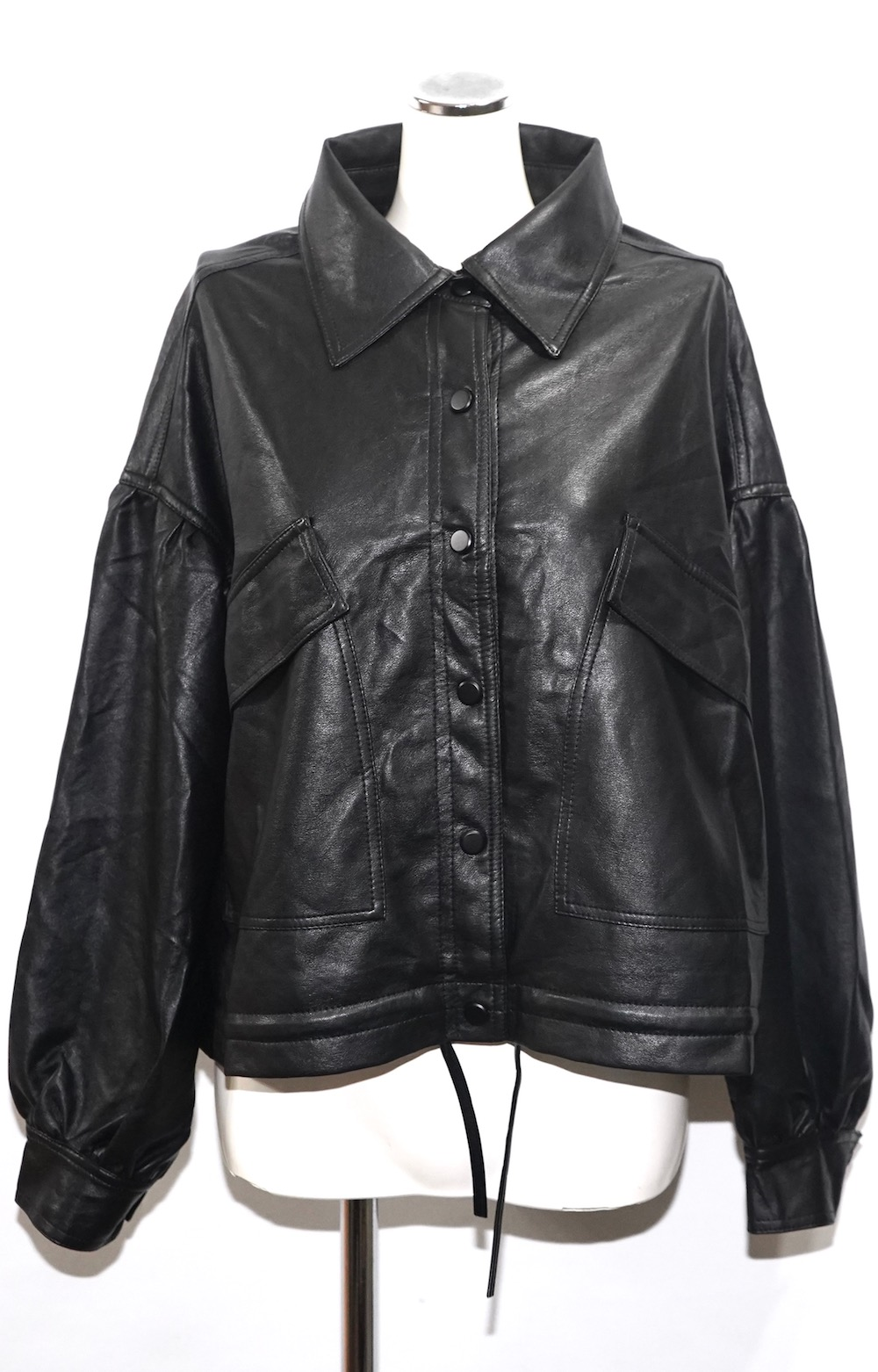 Balloon Sleeve Leather Touch Jacket Coat (black)