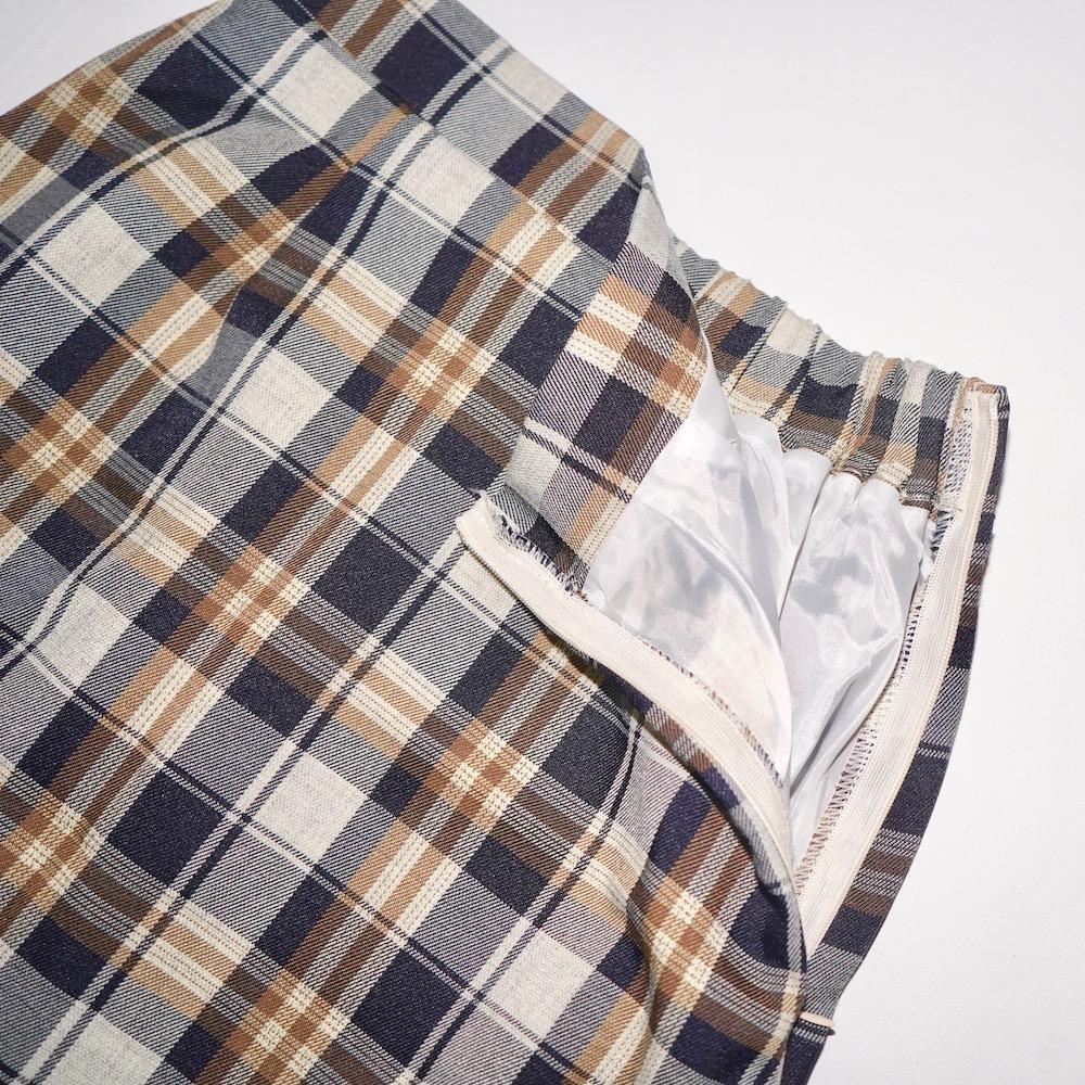 Color Check I-Line Skirt (beige)