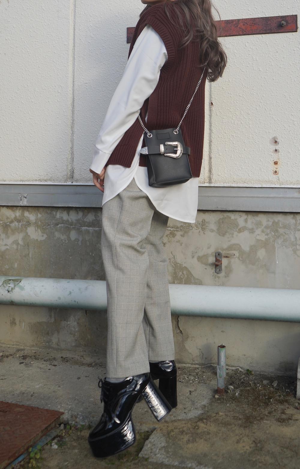 Knit Vest×Shirts Docking Tops (brown)