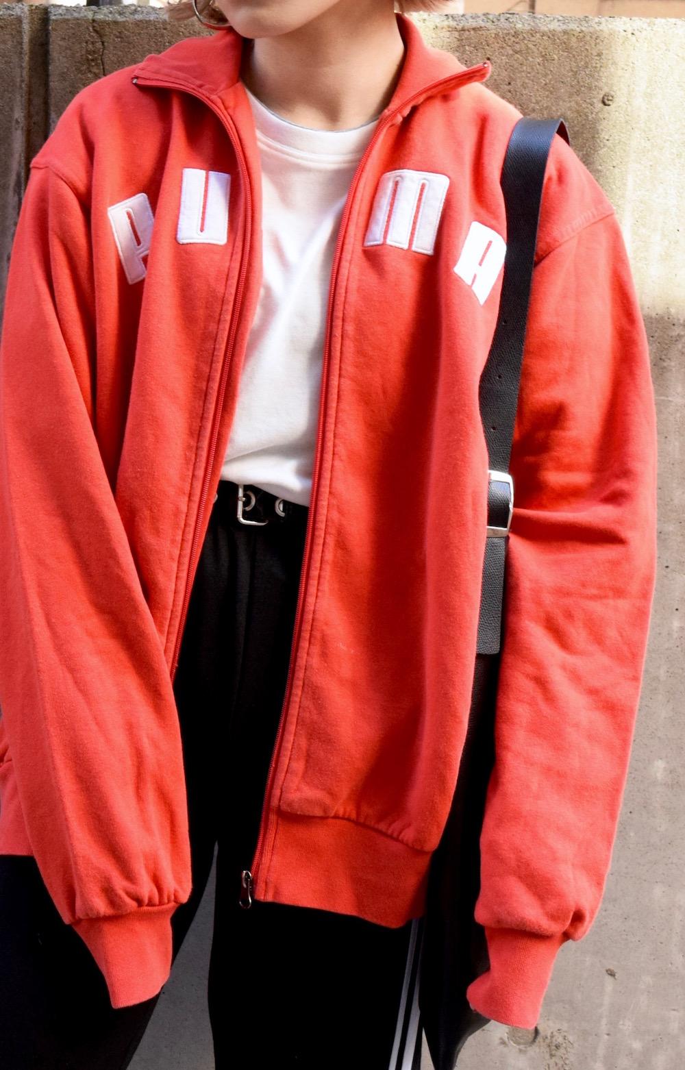 """PUMA"" LOGO ZIP UP SWEAT JACKET (RED)"