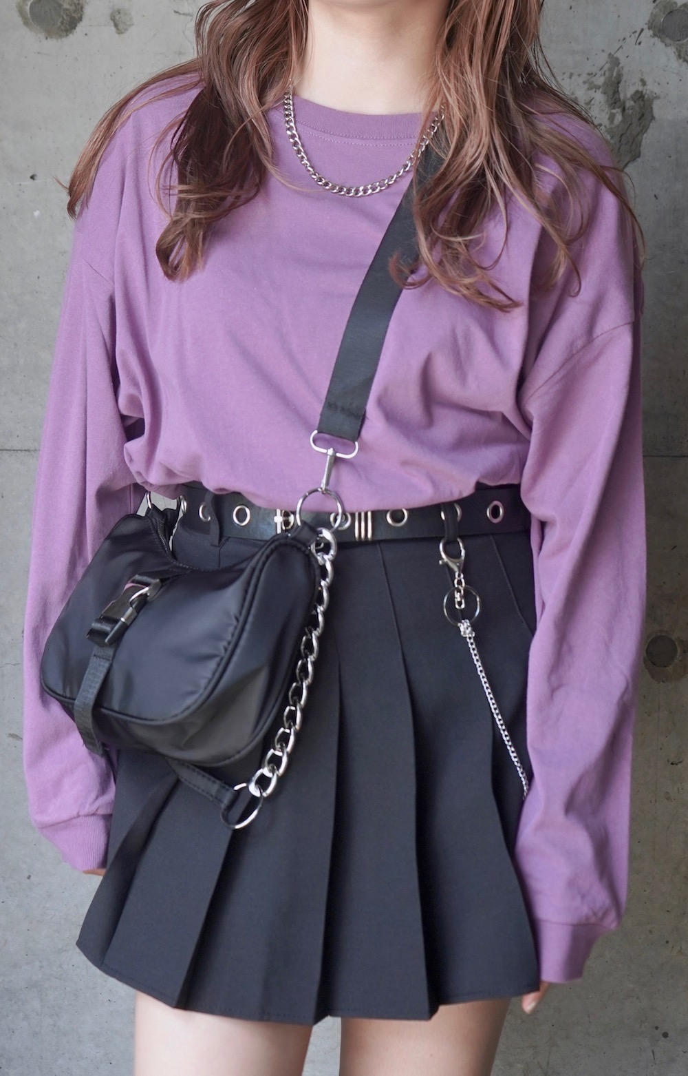 Loose Fit Basic Long Sleeve TEE (dusty purple)