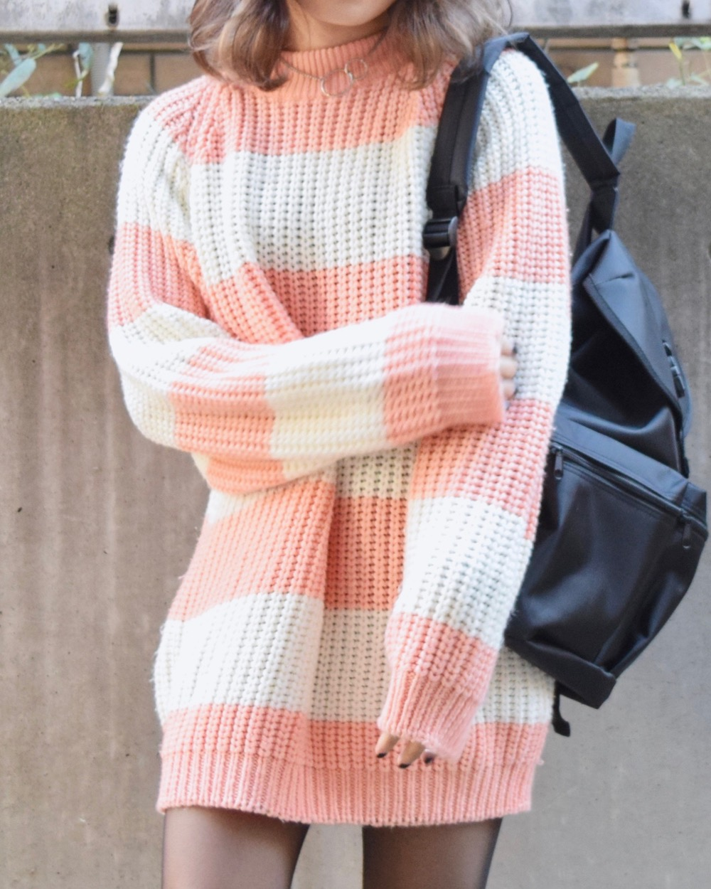 WIDE PITCH BORDER BIG KNIT SWEATER(pink)
