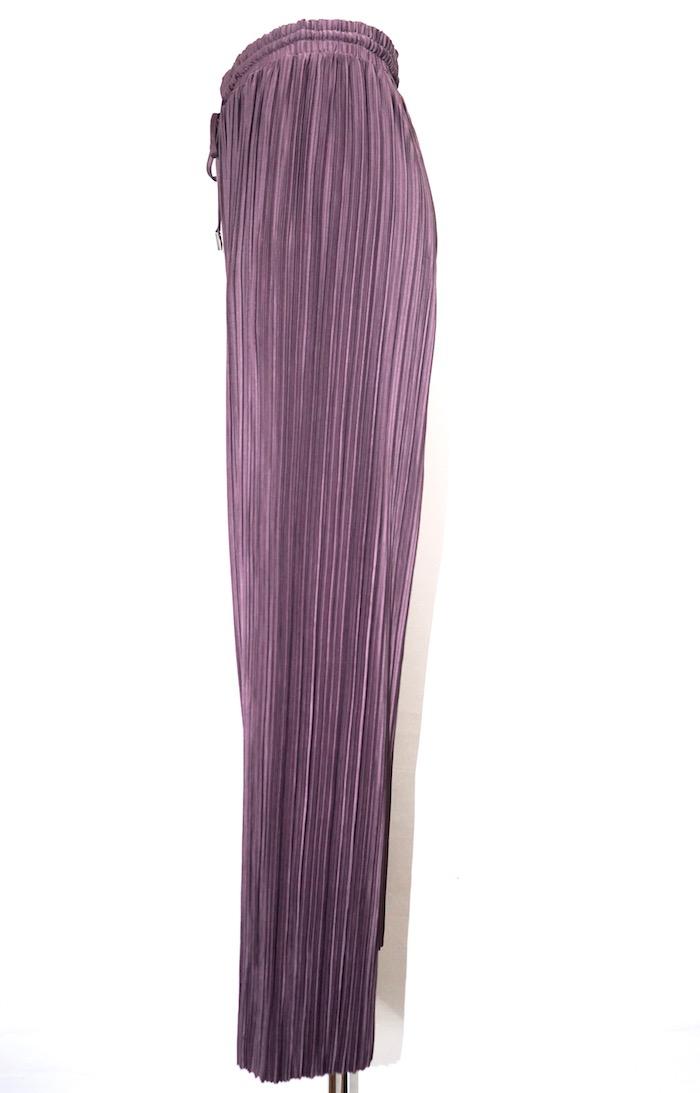 Shiny Pleats Wide Pants (dark purple)