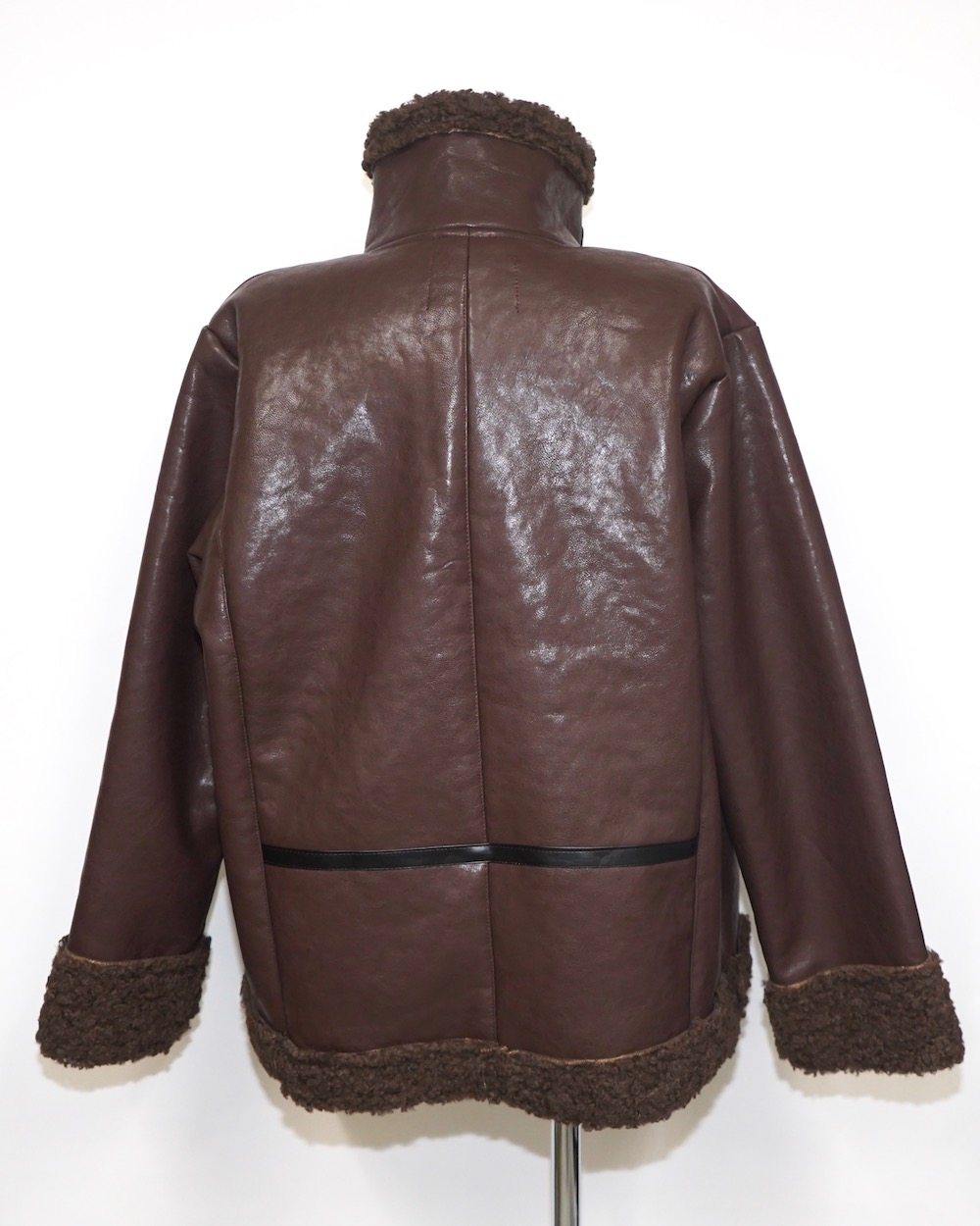 Leather Touch 2tone Accent B-3 Jacket (brown)