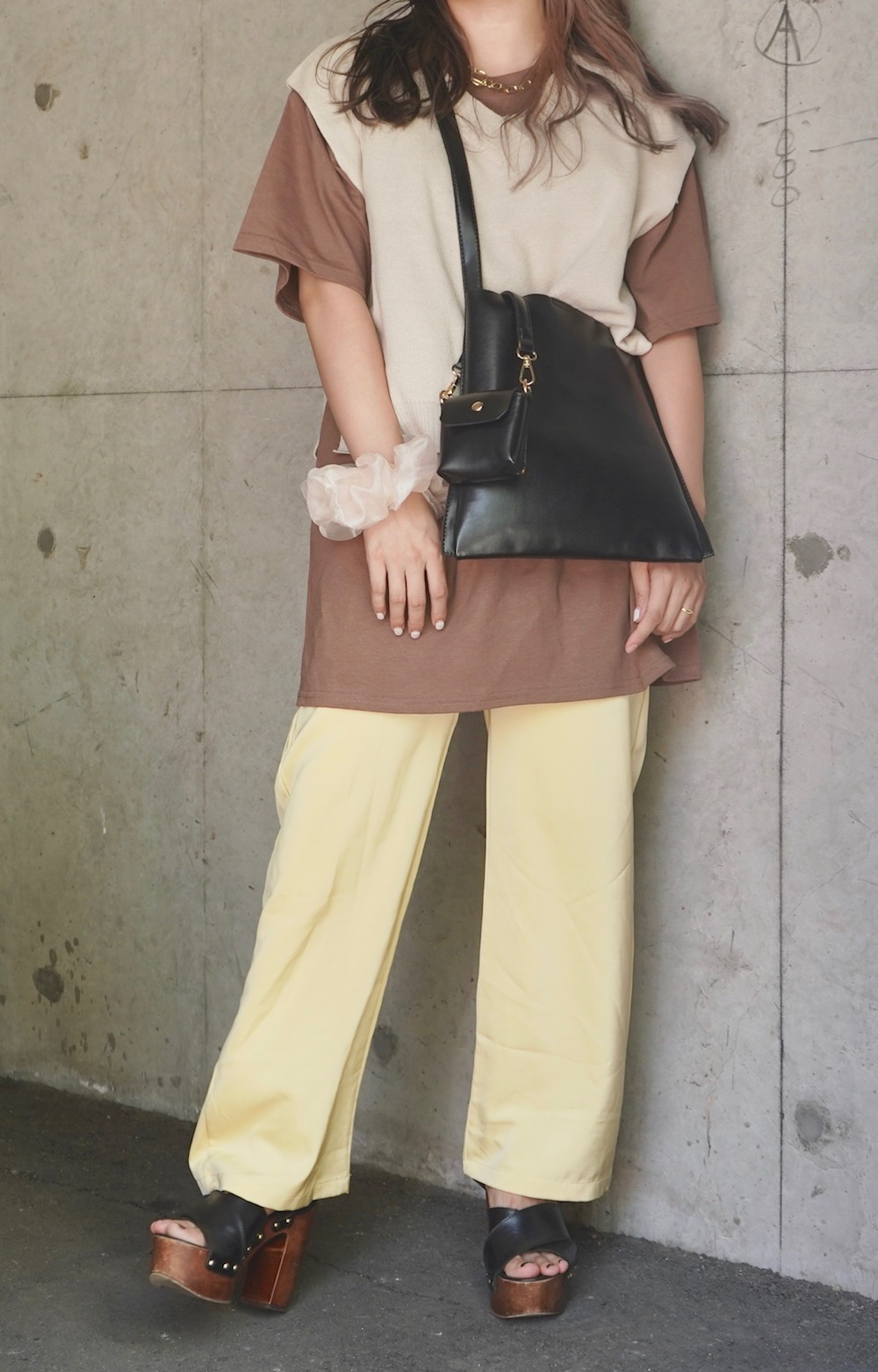 Basic V-neck Knit Vest (beige)