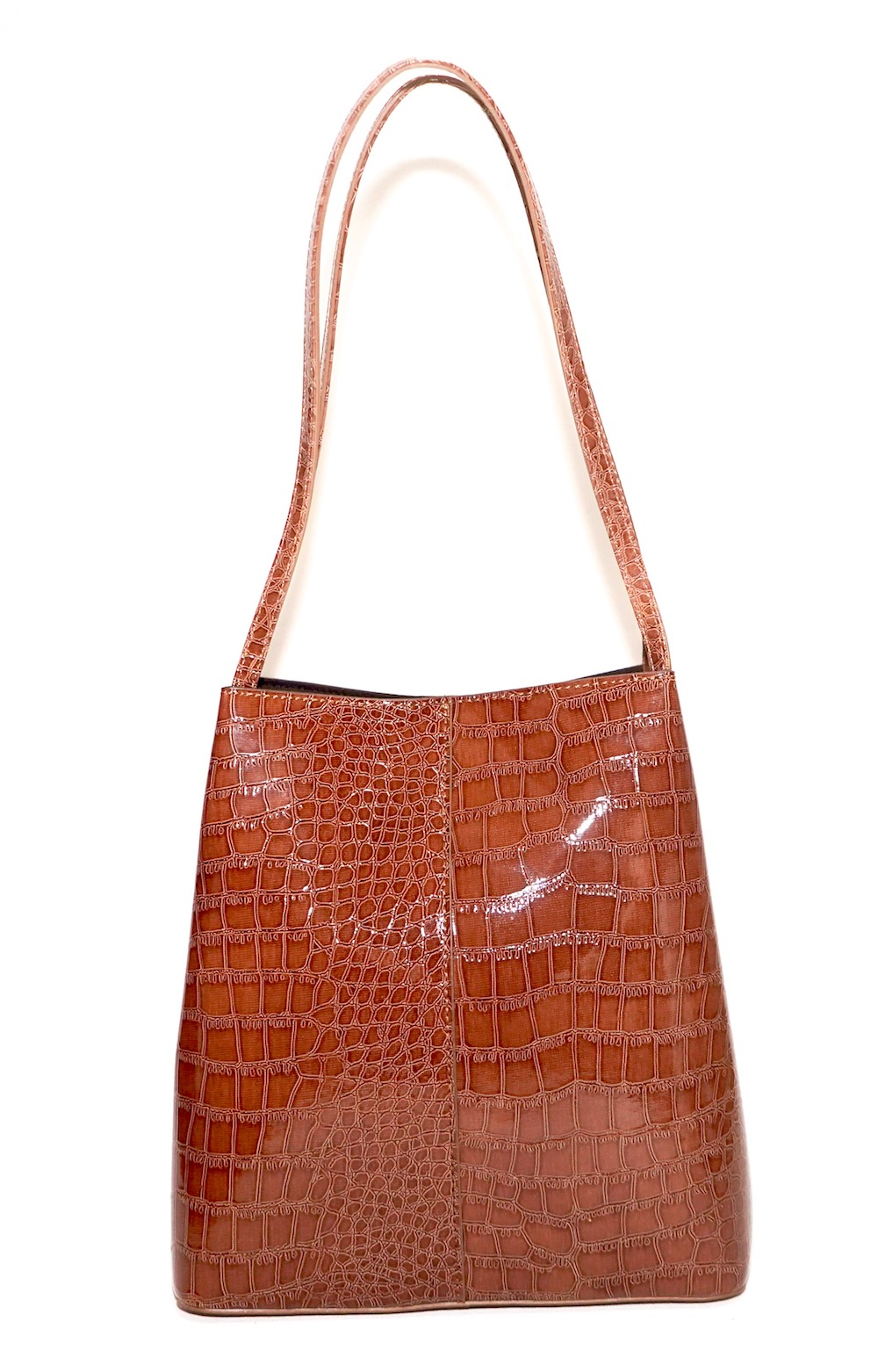 Crocodile Leather Touch Tote-Bag (camel brown)