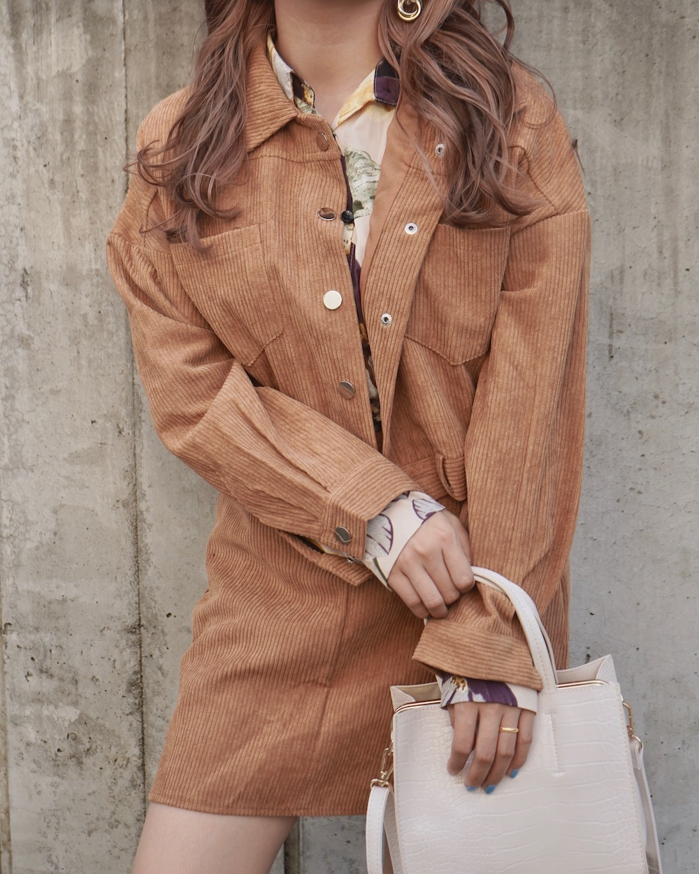 Corduroy Jacket+Skirt 2P SET UP (light brown)