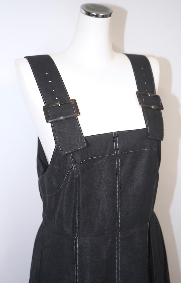 White Stitch Box Pleats Cami-Onepiece (black)