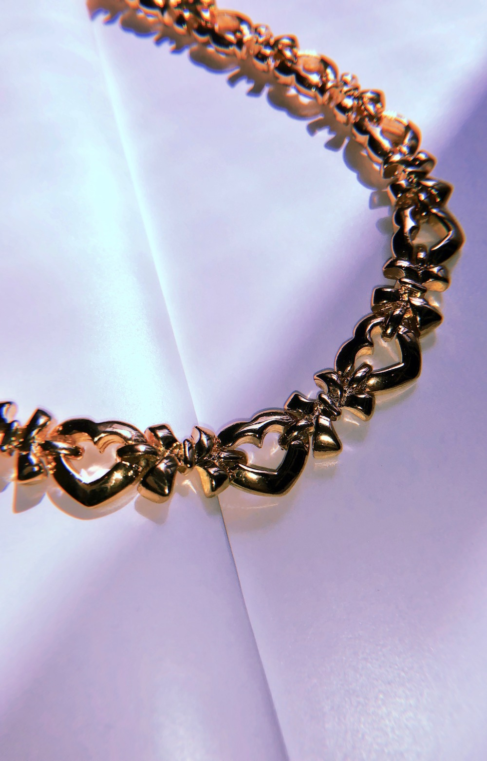Heart&Ribbon Choker Necklace (gold)