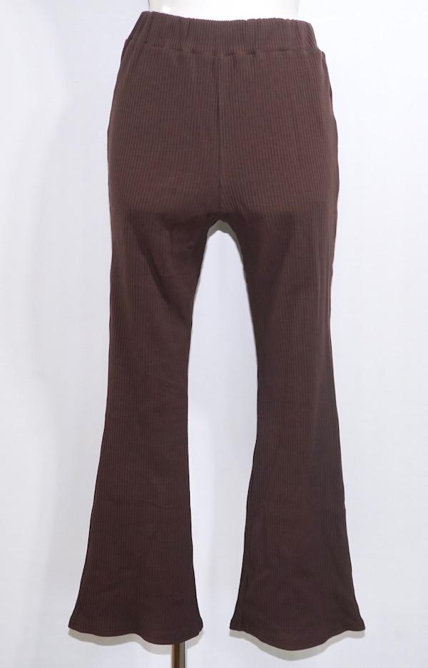 Rib Flare Easy Pants (dark brown)