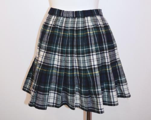 Tartan Check Pleats Mini Skirt(GREEN)