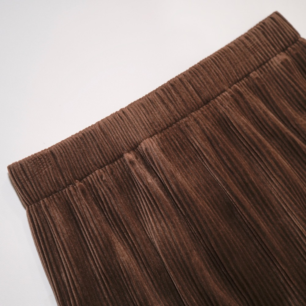 Velvet Rib H-Line Skirt (brown)