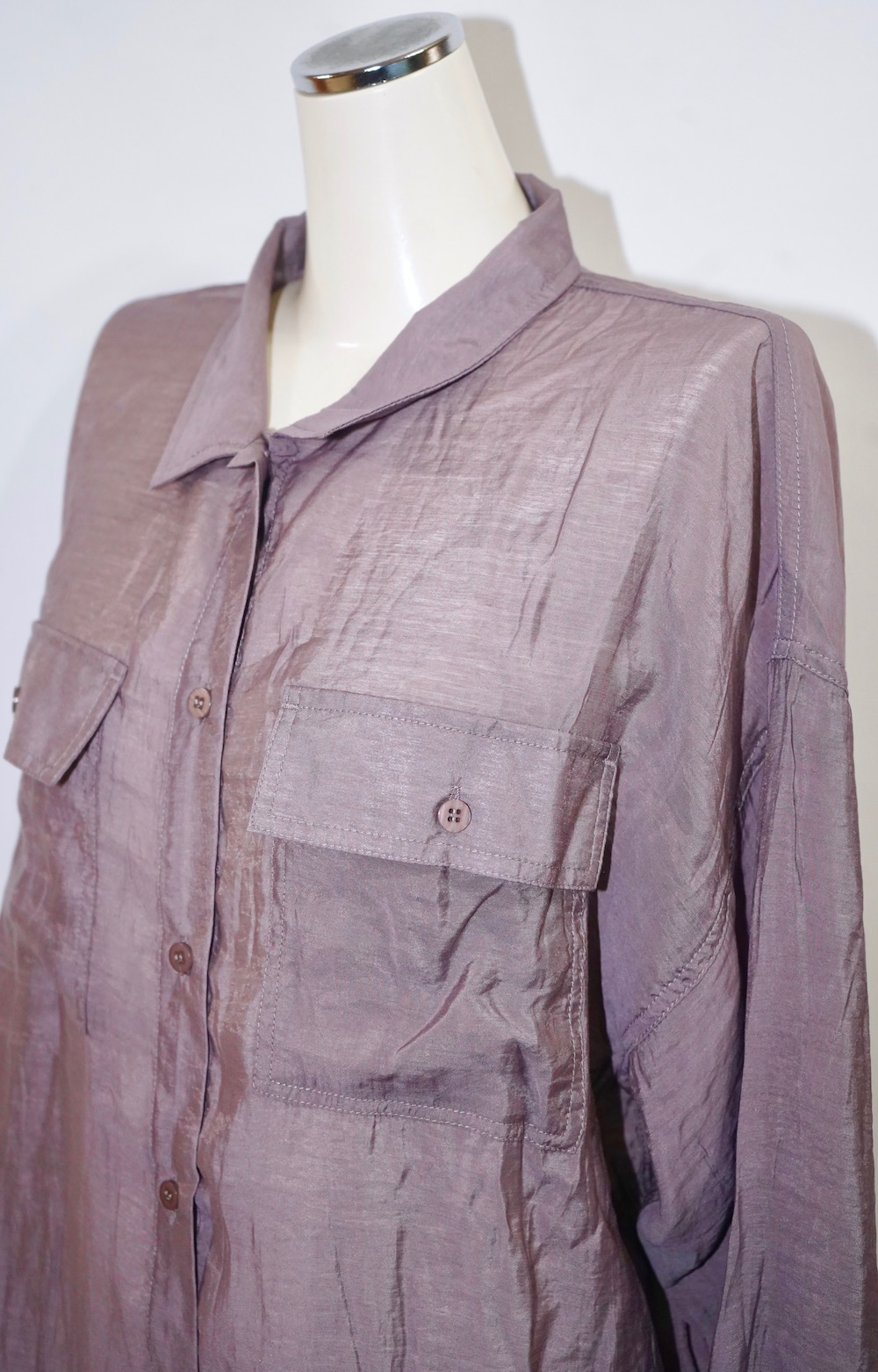 Oversized Sheer CPO Shirts (dusty lavender)