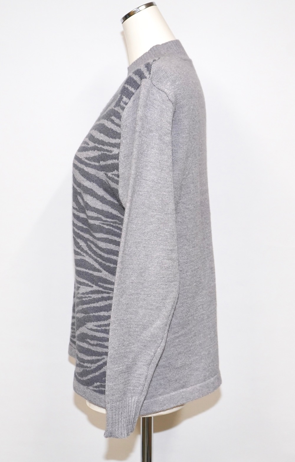 Zebra Pattern Mock Neck Knit Sweater (grey)