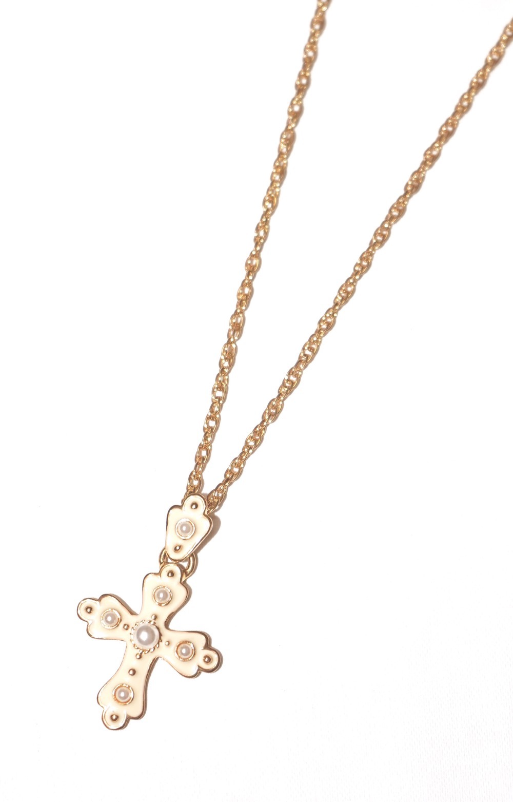 Pearl Cross Necklace (gold)