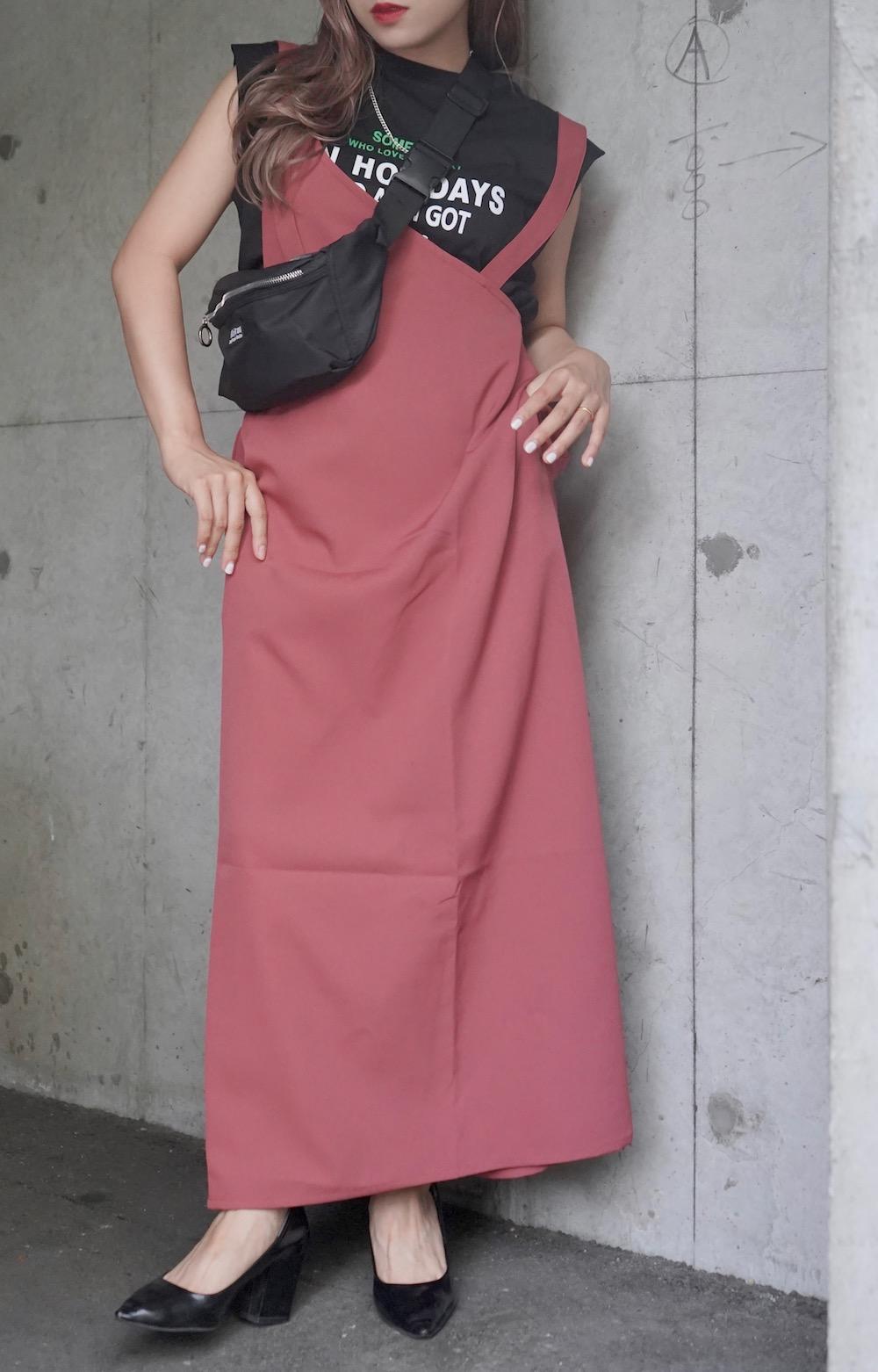2type Strap Long Jumper Skirt (pink)