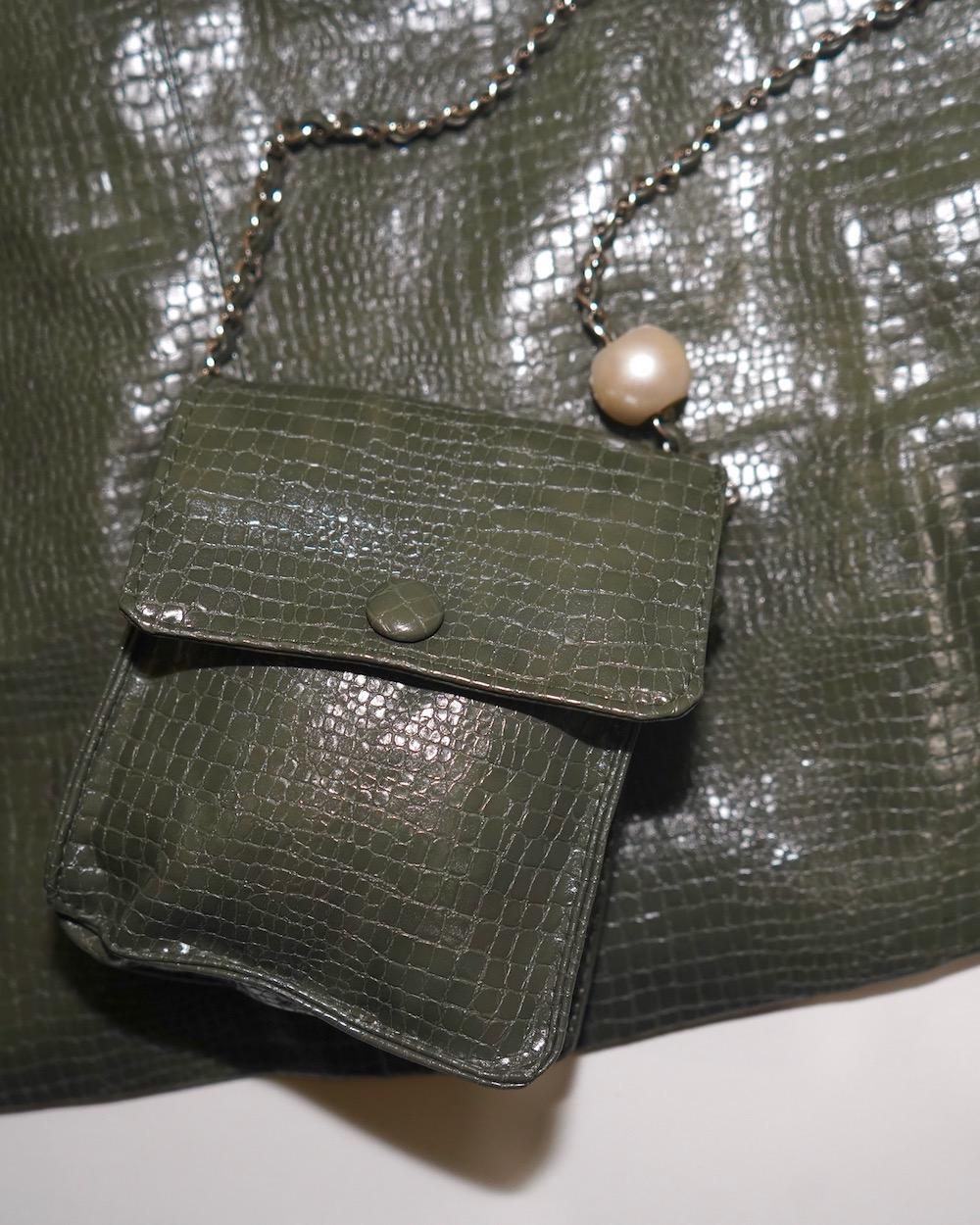 Croco-Touch Leather Mini Skirt *mini bag SET (green)