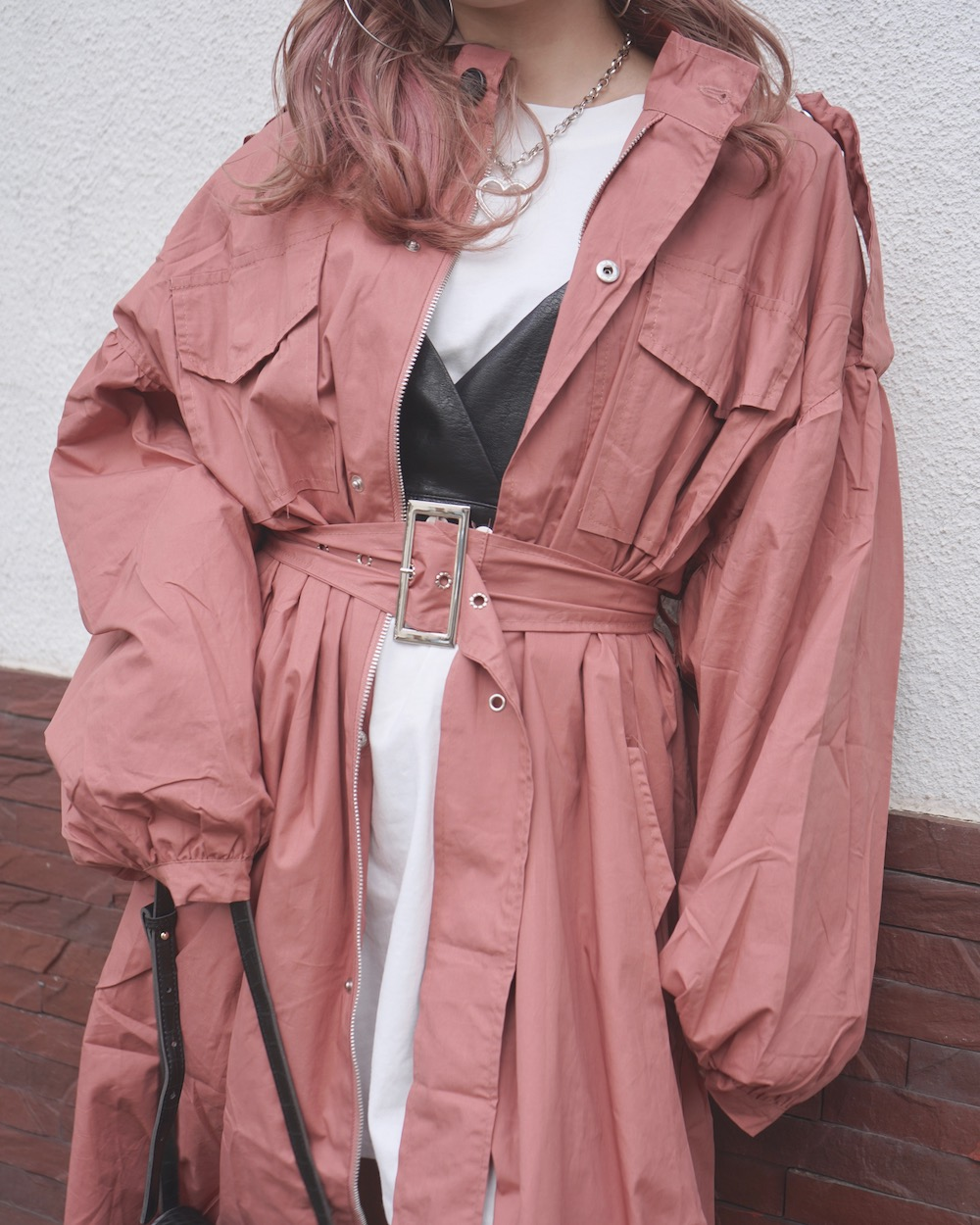 Balloon Sleeve Military Long Jacket Coat (pink)*with Belt