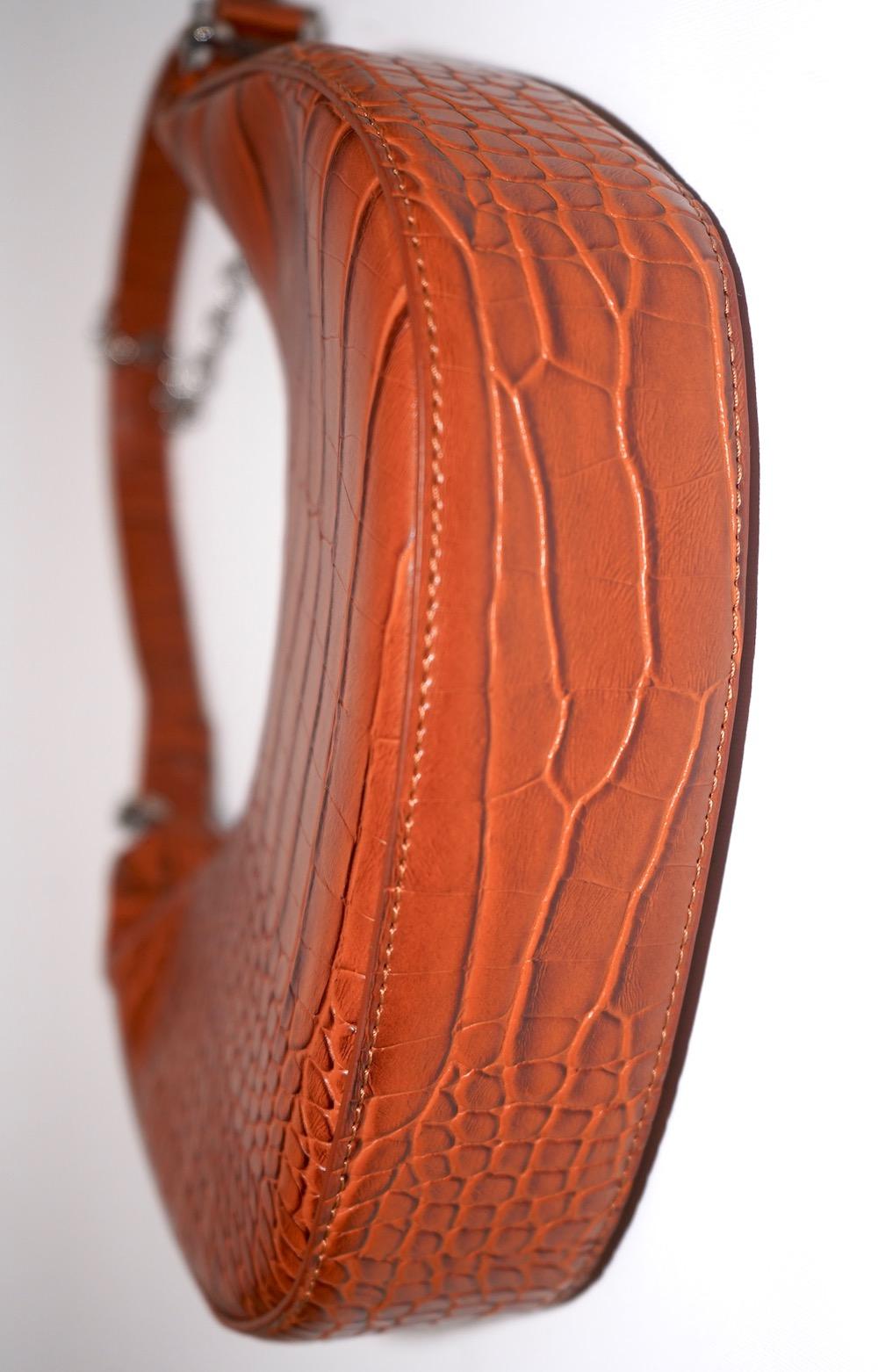 2way Crocodile Touch Half-moon Bag (brown)