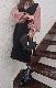 V-neck Knit Vest Onepiece (black)
