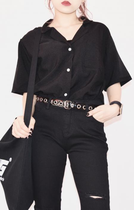 (全2色)オープンカラールーズフィットシャツ