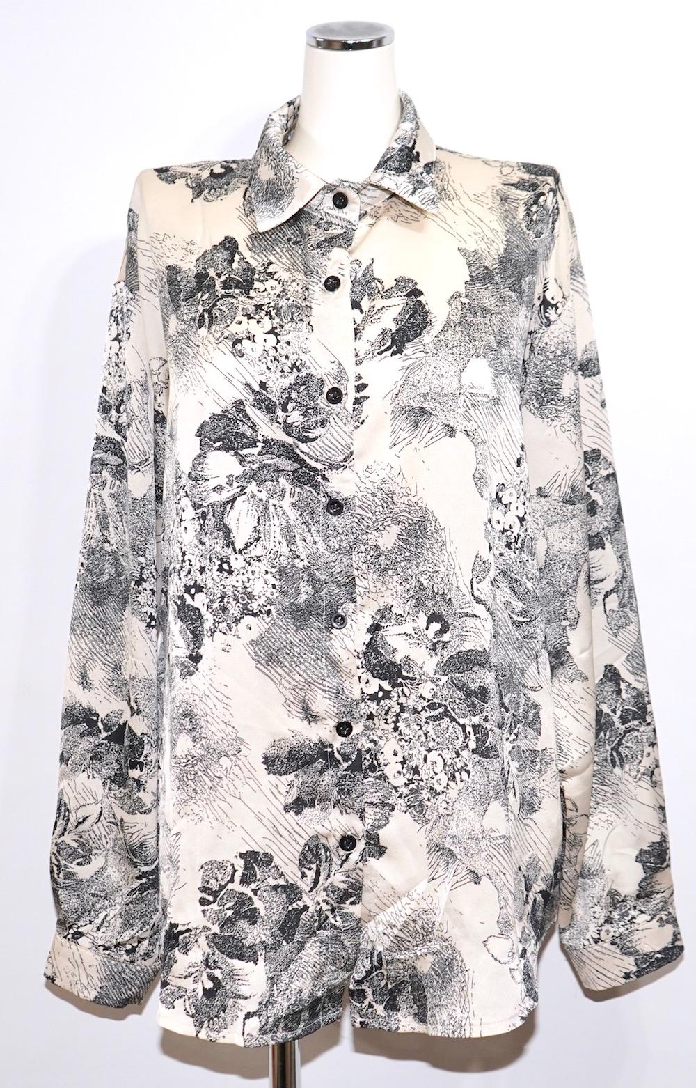 Flower Painting Satin Big Shirts (off white)