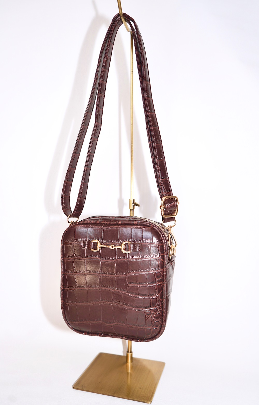Bit Crocodile Touch Shoulder Bag (brown)
