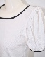 Piping Trim Puffsleeve Tops (white)