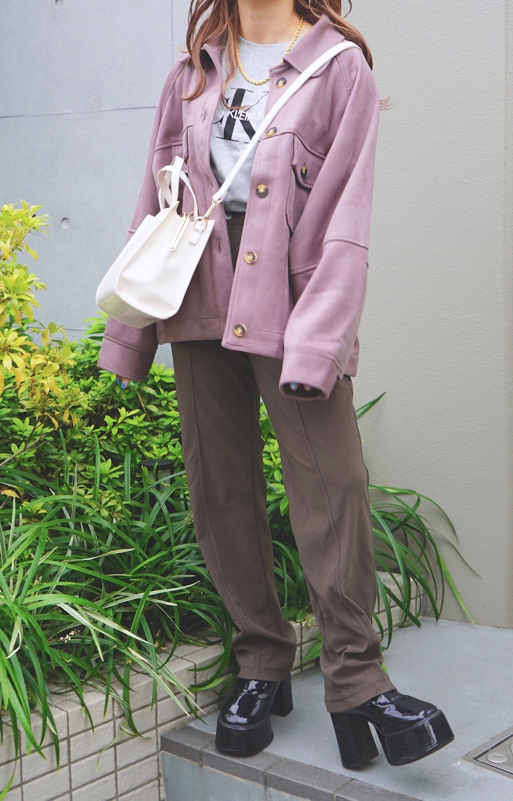 Oversized Suede Touch CPO Jacket (dusty purple)