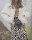 Zebra Slit Knit Skirt (white)