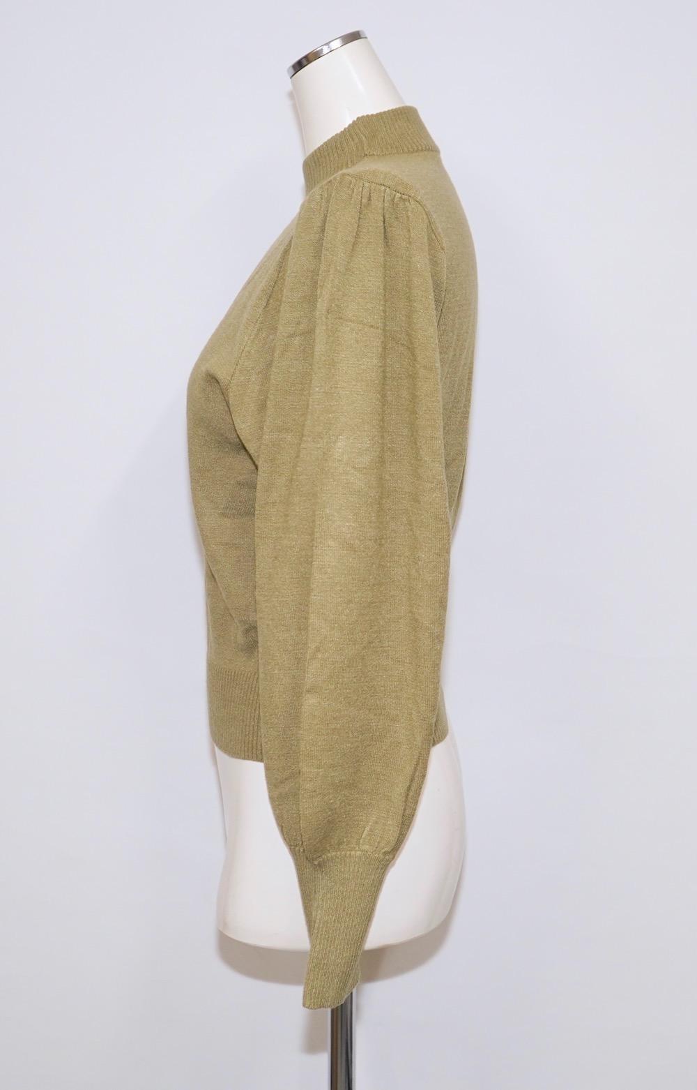 Basic Balloon Sleeve High-neck Knit (green tea)