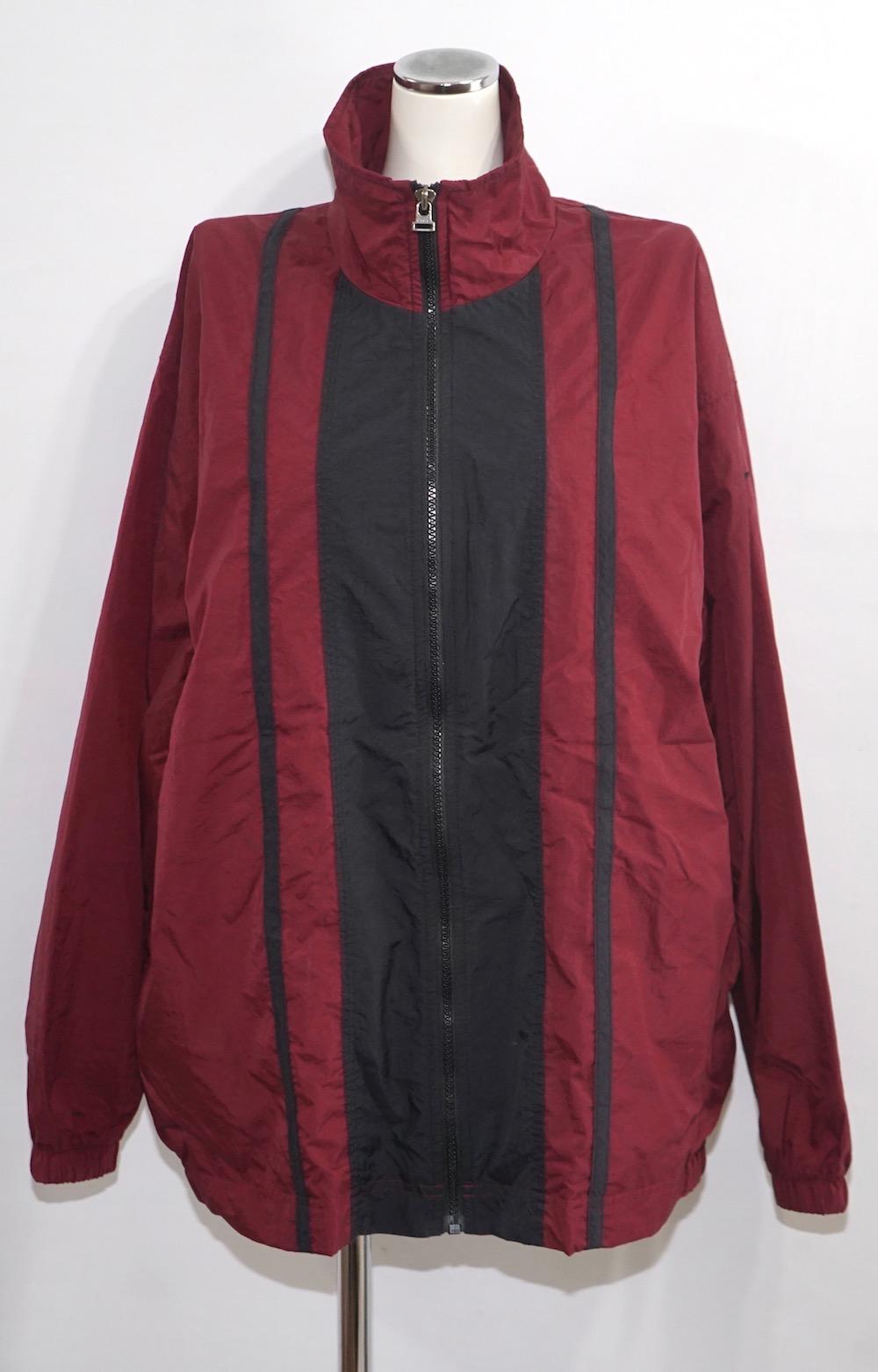 "90s ""NIKE"" 1point Logo Bi-color Nylon Jacket(blk/brd)"
